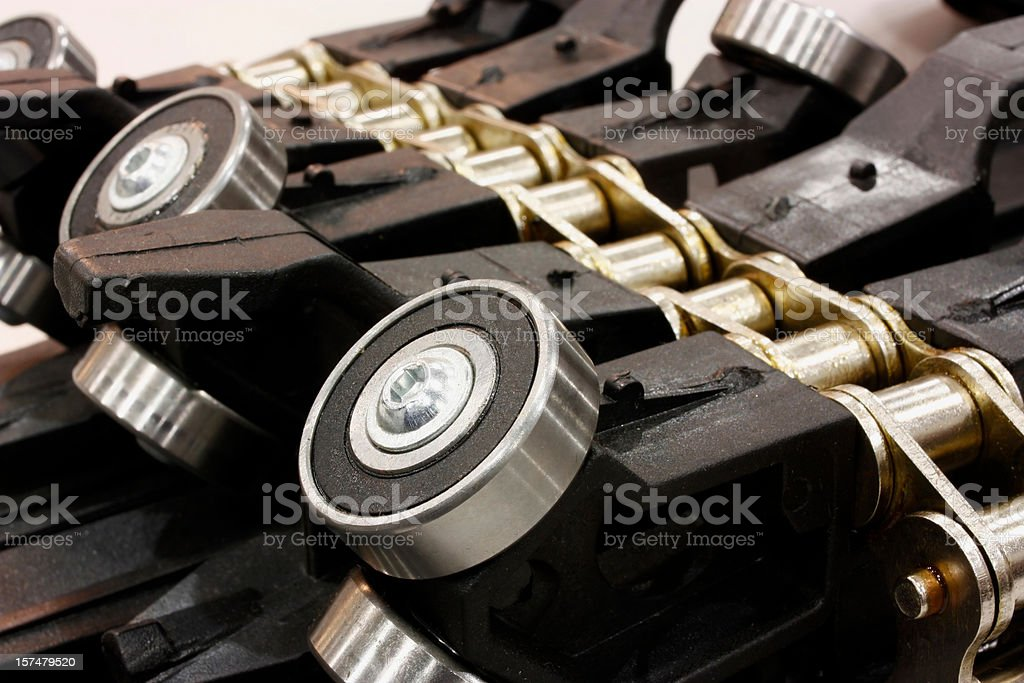 Close up Detail of Industrial chain and bearings stock photo