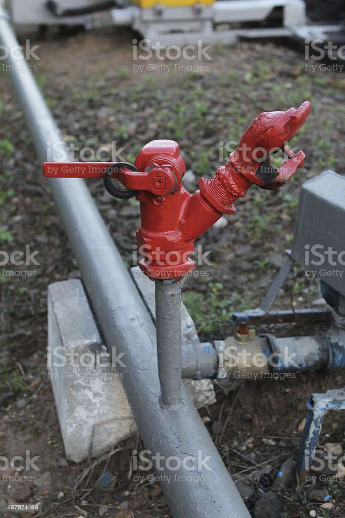 Close up detail of old water valve stock photo