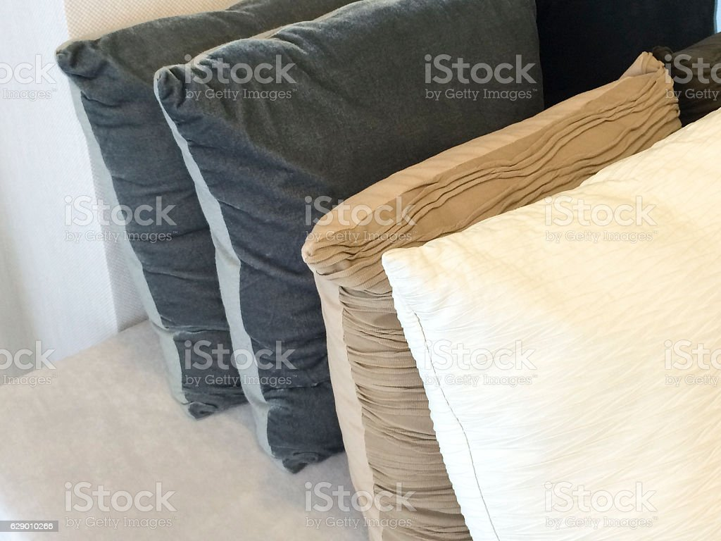 Close up detail of  pillow on sofa in a home stock photo