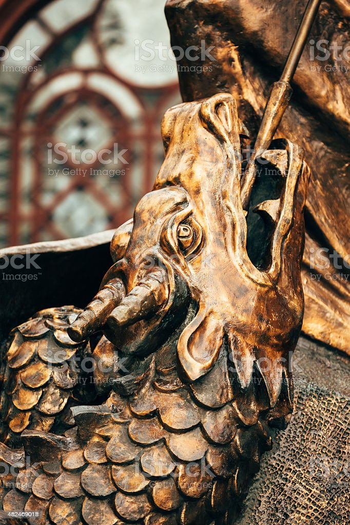 Close Up Detail Of Statue Of Archangel Michael stock photo
