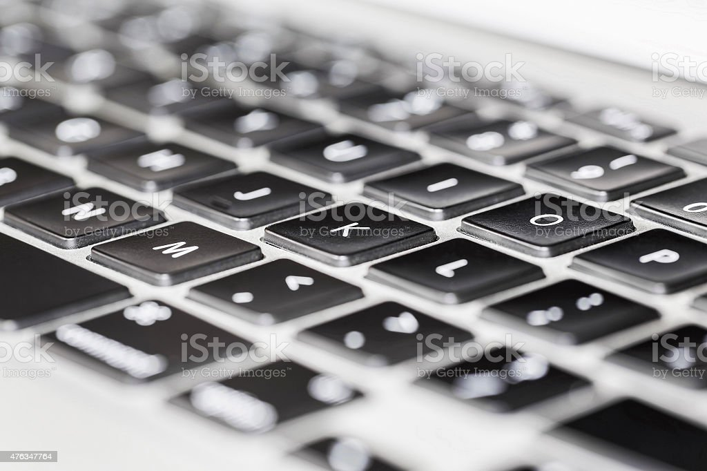 Close up Detail View of Laptop Computer Keyboard stock photo