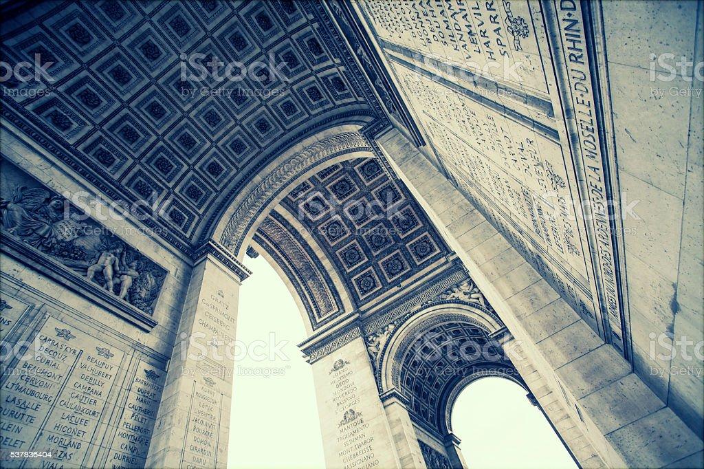 Close up details underneath the Arc de Triomphe in Paris stock photo