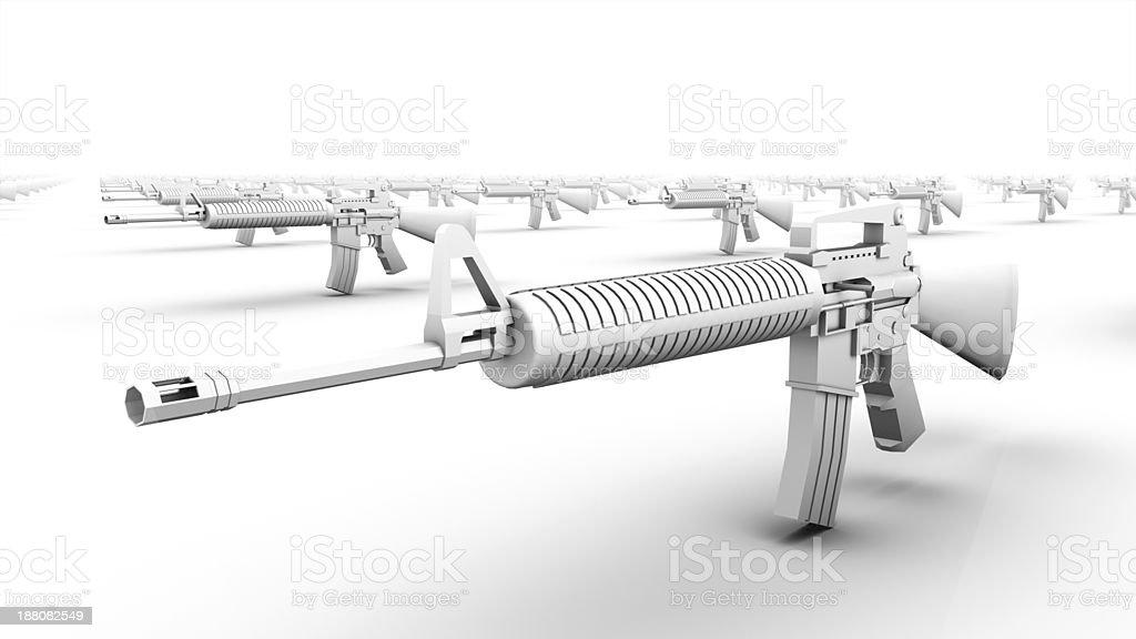 Close up diagonal view of endless Rifles stock photo