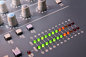 Close up digital vu-meter sound mixer elevated view