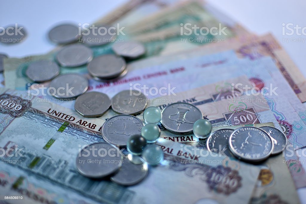 Close up Dirhams currency, United Arab Emirates stock photo