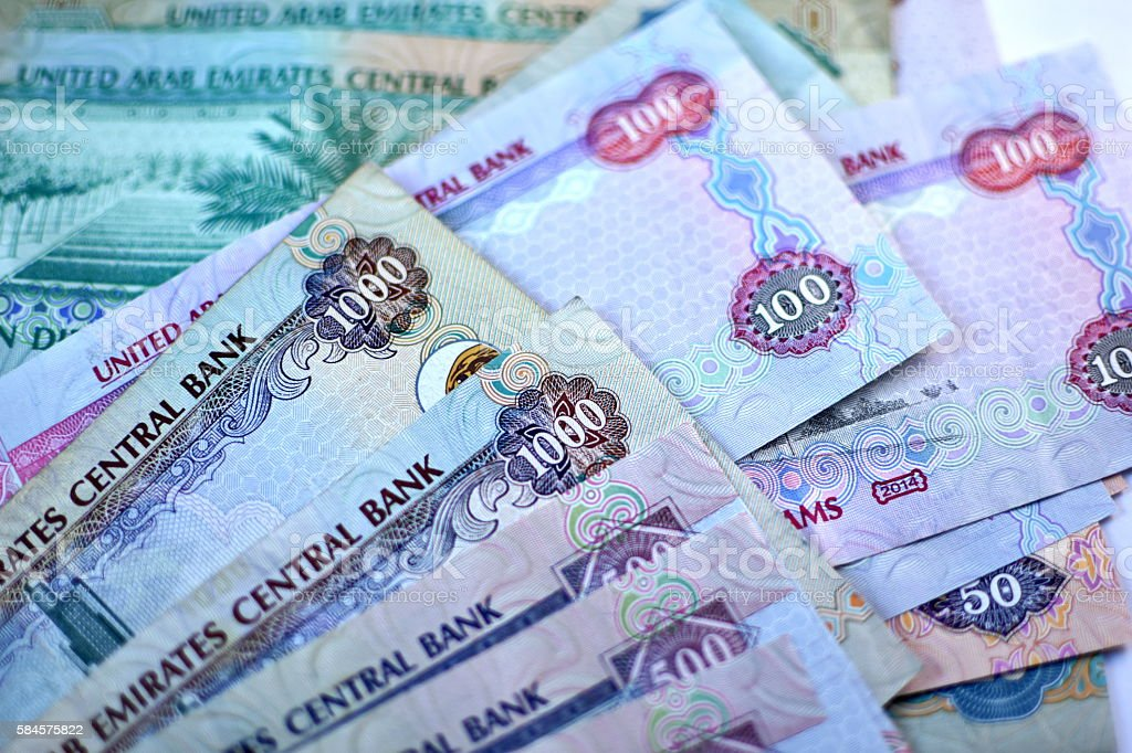 Close up Dirhams currency, United Arab Emirates stock photo
