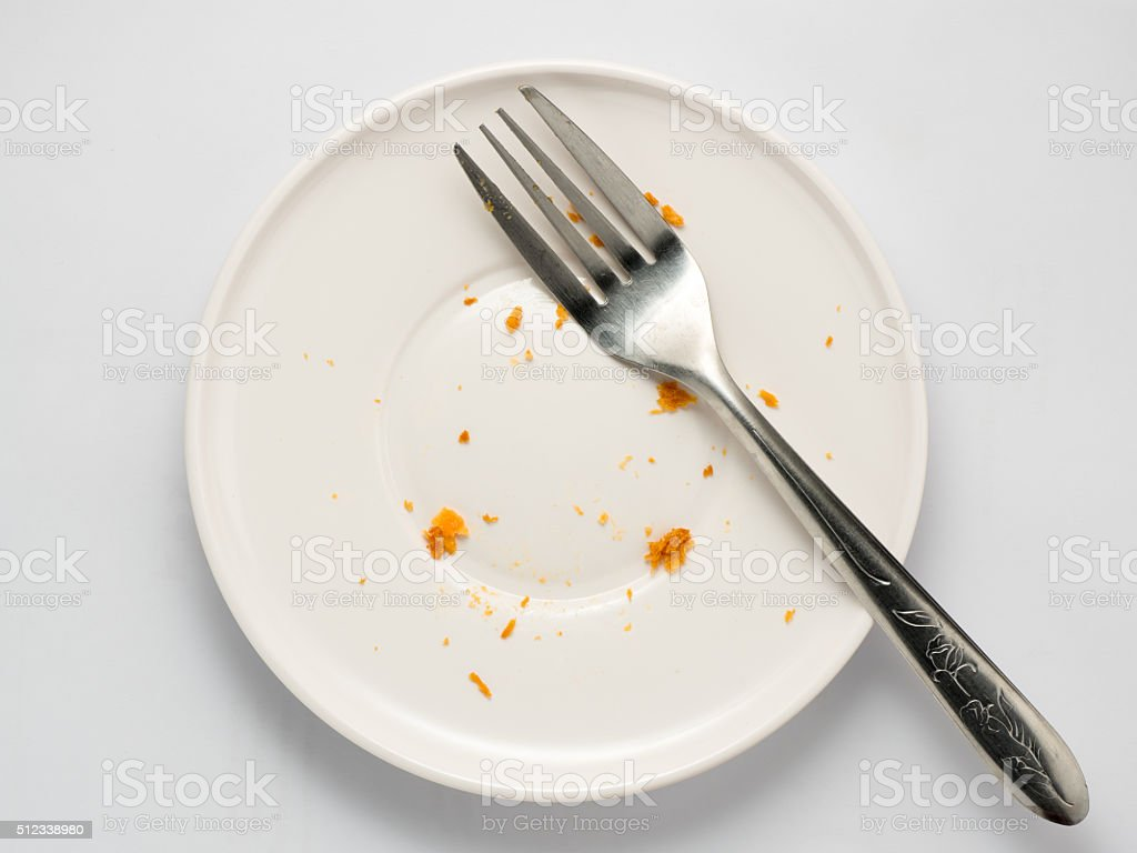 close up dirty dish and used fork isolated stock photo