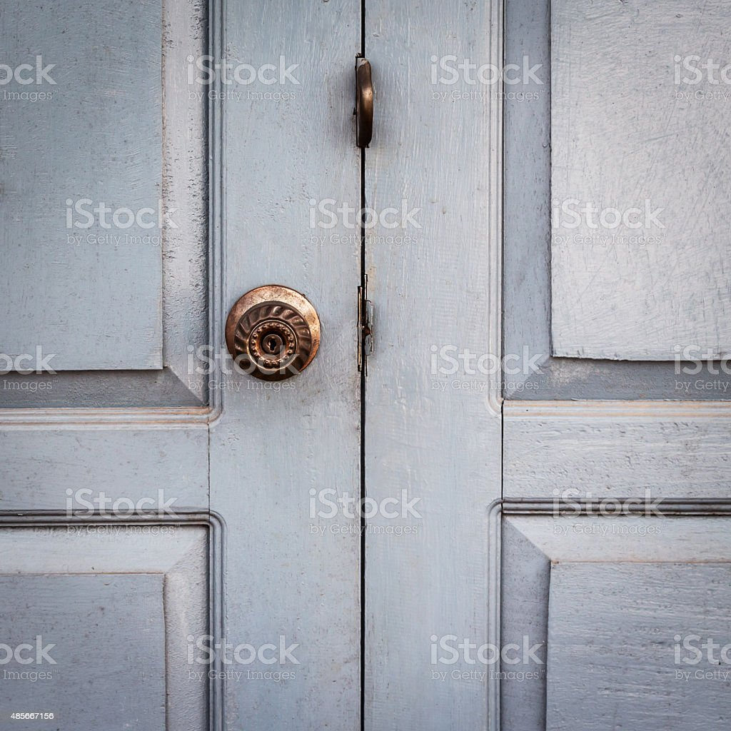 close up door white and handle vintage stock photo