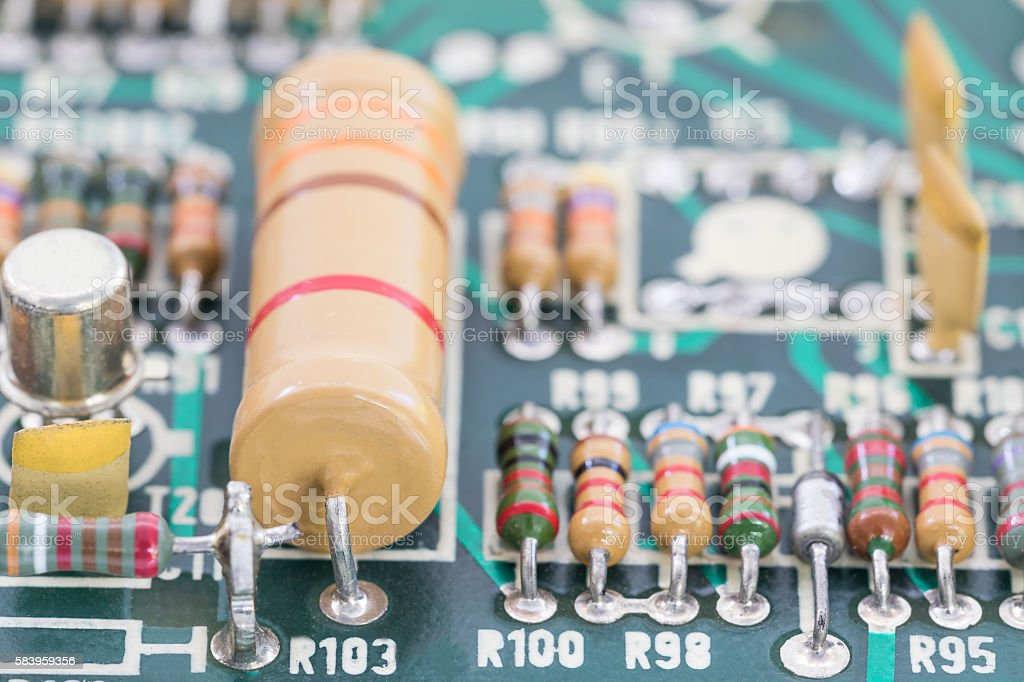 Close up electronic circuit board stock photo
