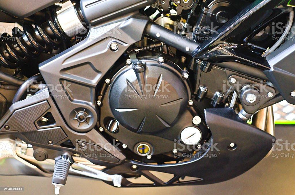 Close up engine of a motorbike. stock photo