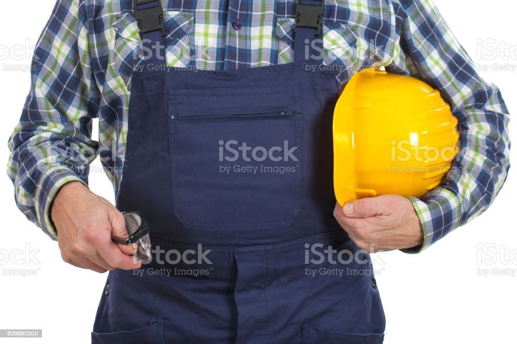 Close up engineer holding instruments stock photo