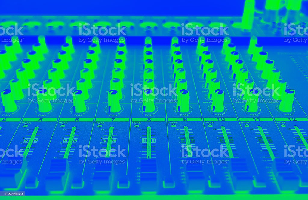 Close up equalizers sound mix stock photo