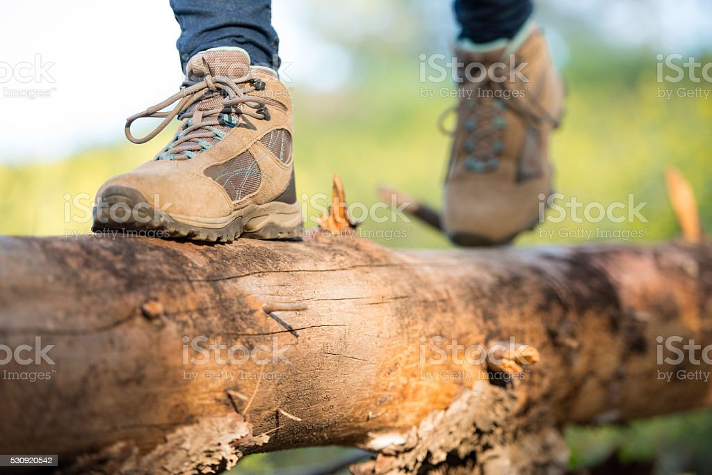 Close up feet of a woman hiker. stock photo