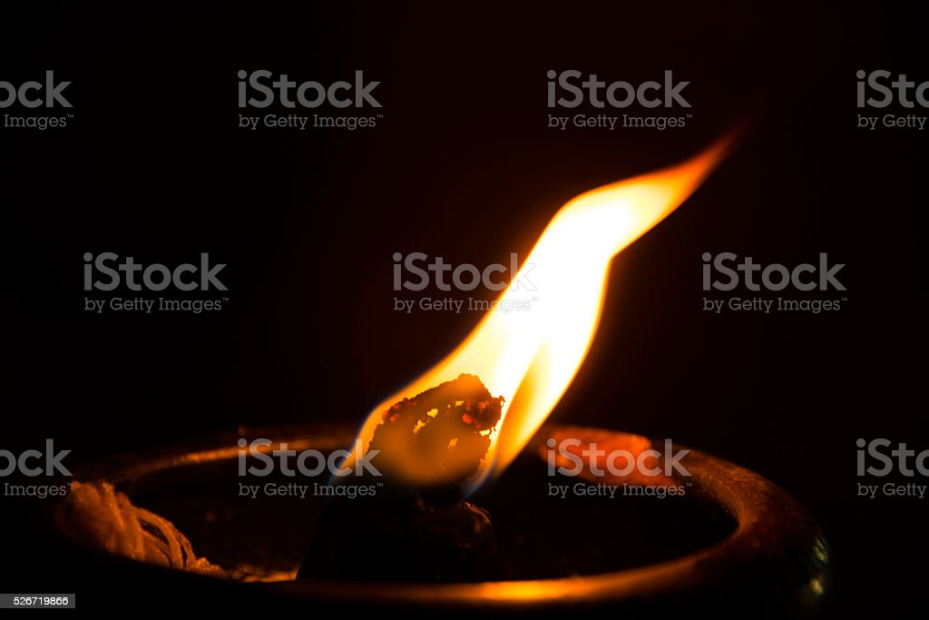 Close up fire light for worship the Buddha stock photo