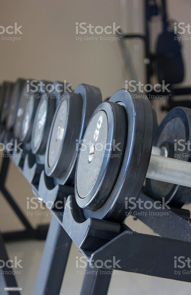 Close Up Fitness Exercise Equipment Dumbbell Weights stock photo