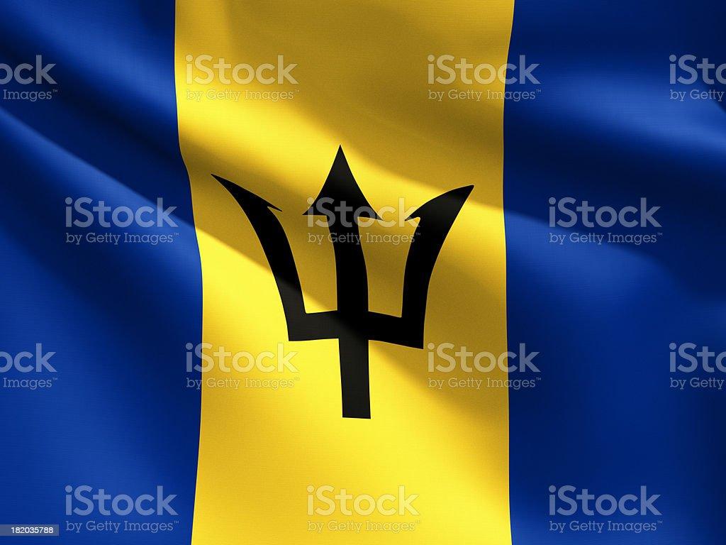 Close Up Flag - Barbados stock photo