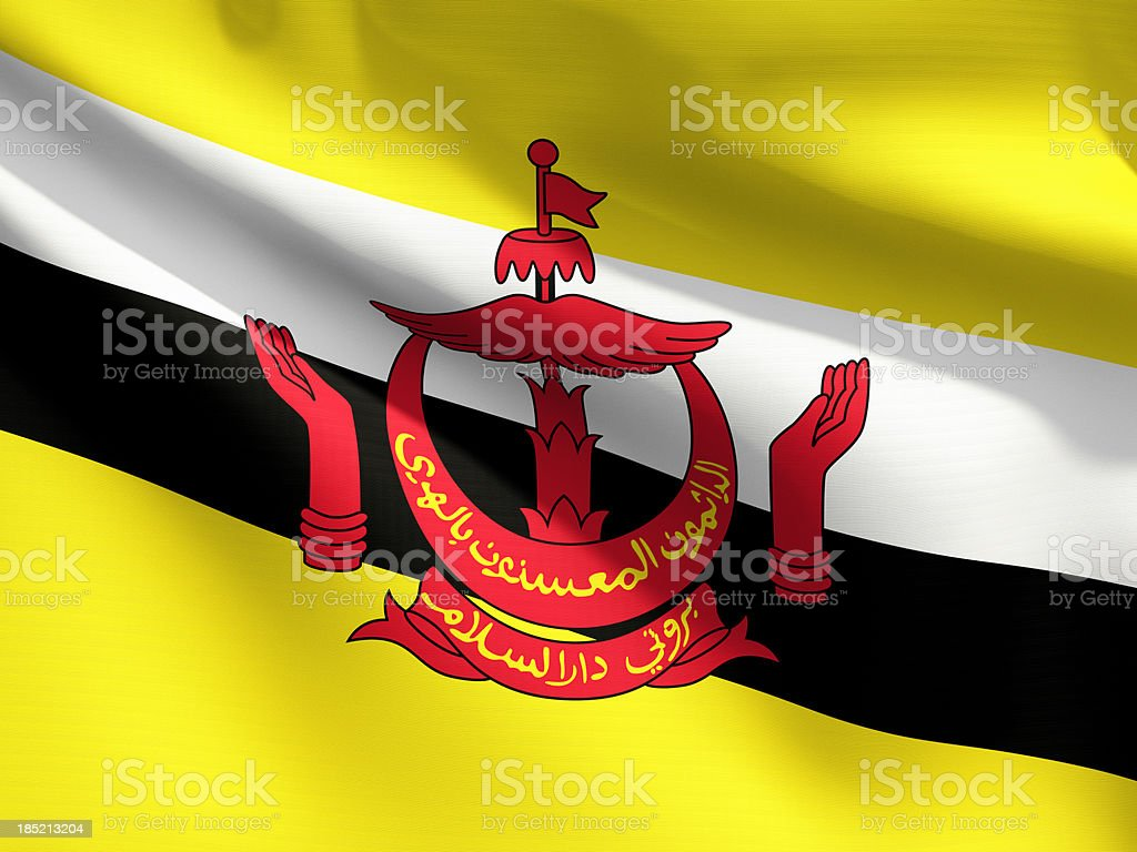 Close Up Flag - Brunei stock photo