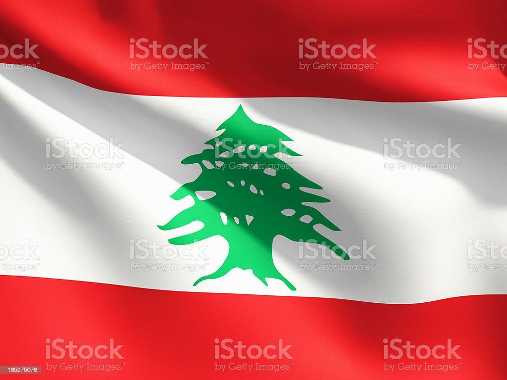 Close Up Flag - Lebanon stock photo
