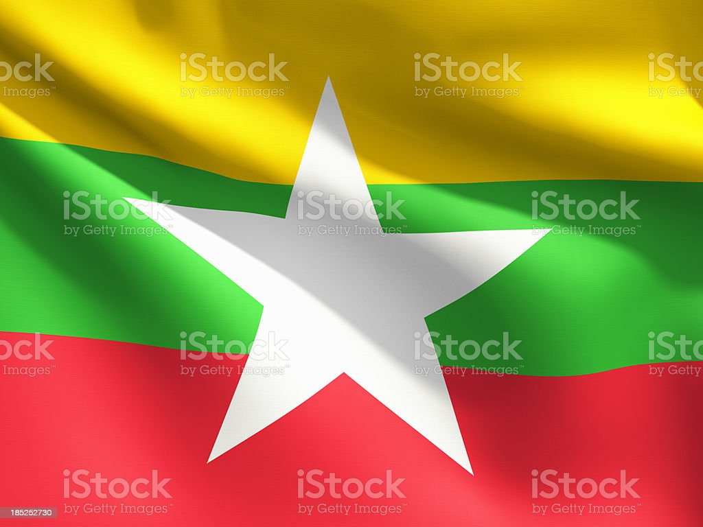 Close Up Flag - Myanmar stock photo