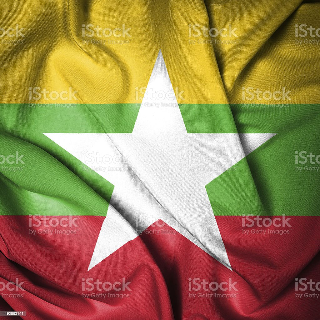 Close up Flag of Myanmar stock photo