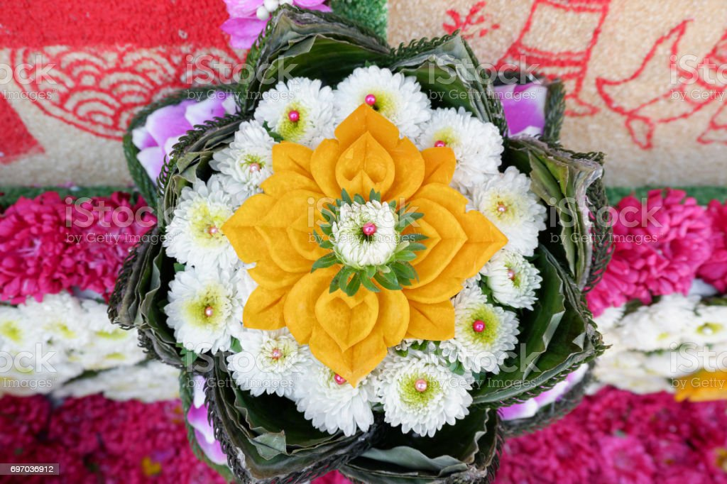 Close up Flower decoration from Chiang Mai Flower Festival 2017 stock photo