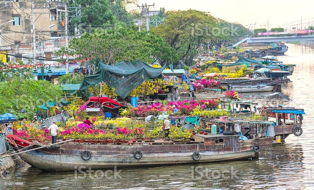Close up flowers along the river boat trade Tet stock photo