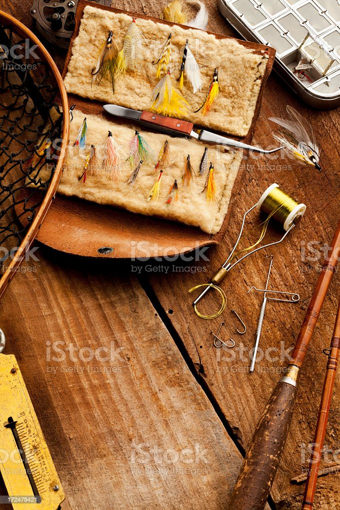 Close up, Fly-Fishing rod & collection of Flies. royalty-free stock photo