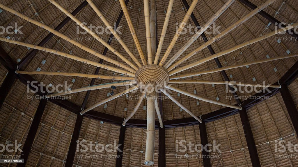 close up frame structure on top of bamboo roof Стоковые фото Стоковая фотография