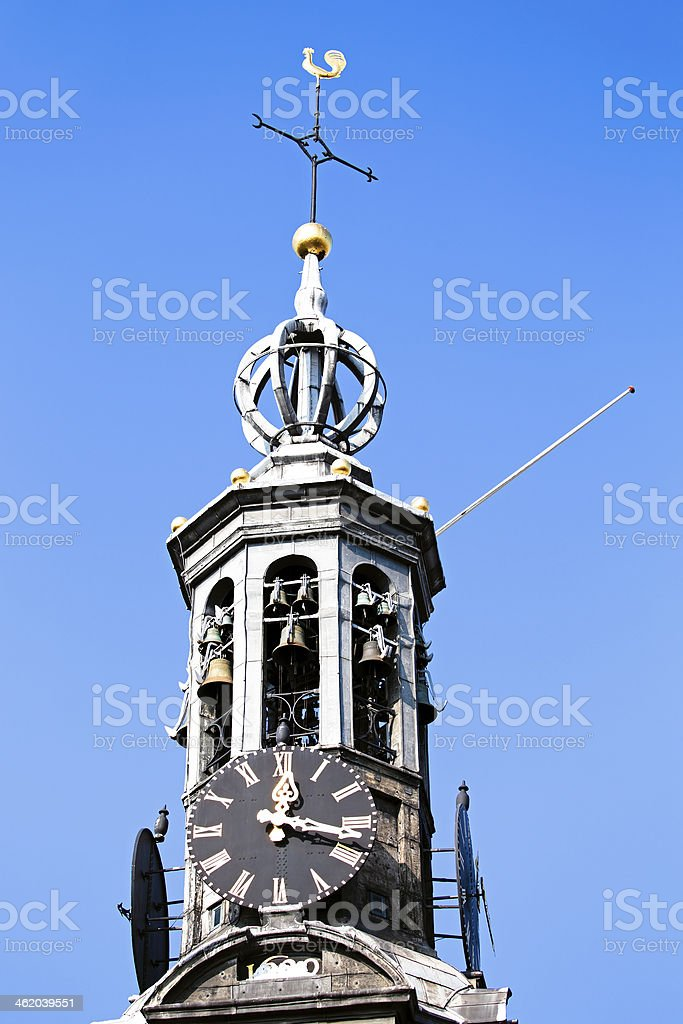 Close up from the Munt tower in Amsterdam Netherlands stock photo