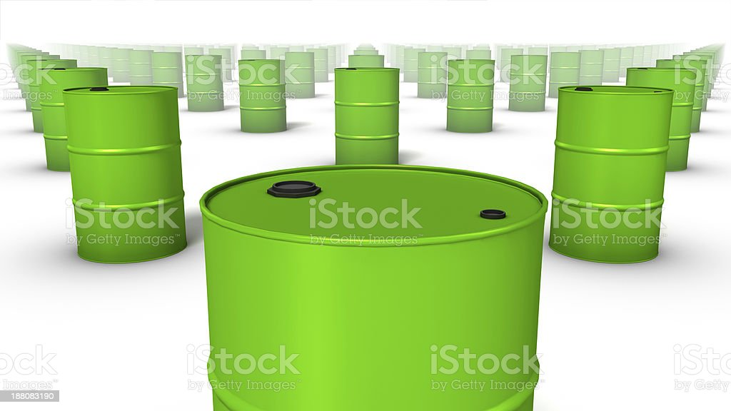 Close up front view of endless Oil Drums stock photo