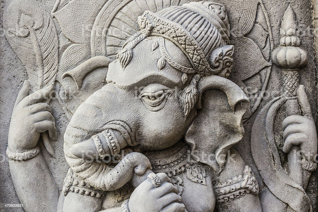 Close up ganesh hindu god face. stock photo