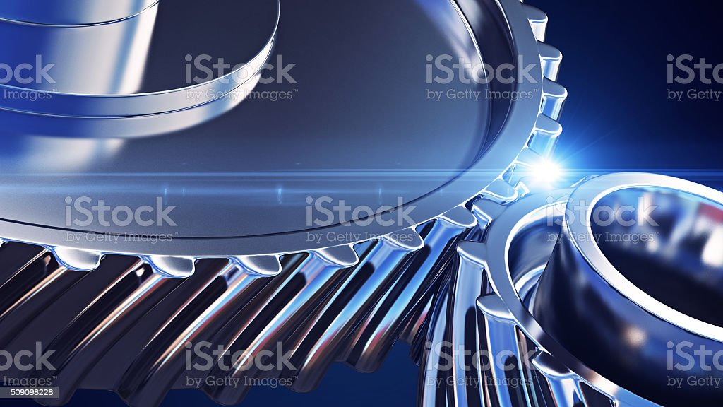 Close up gears with depth of field effects stock photo