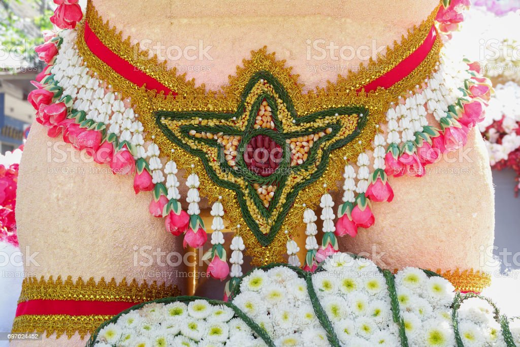Close up grain decoration in Chiang Mai Flower Festival 2017 stock photo