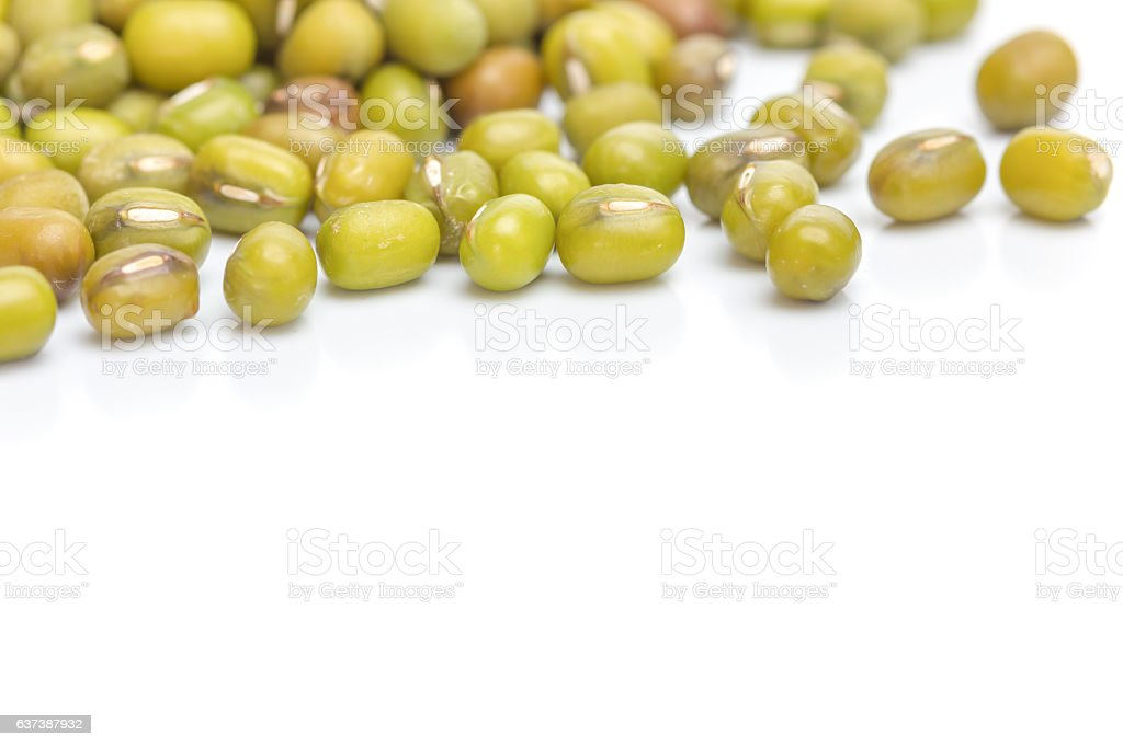 Close up green bean on white background isolated. stock photo