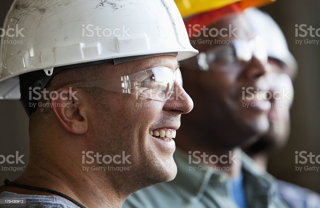 Close up group of construction workers stock photo