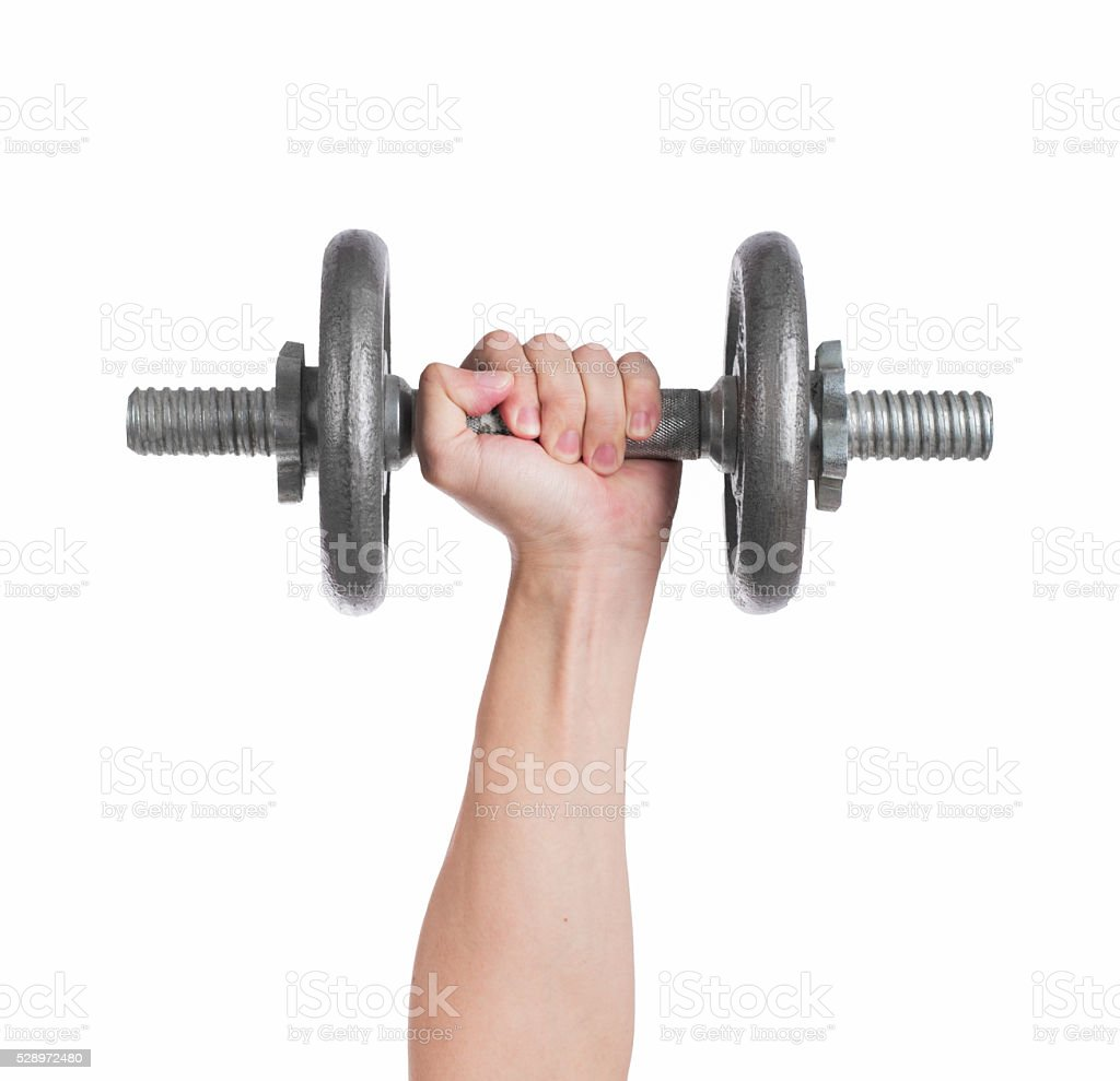 Close up hand men workout dumbbell on white background. stock photo