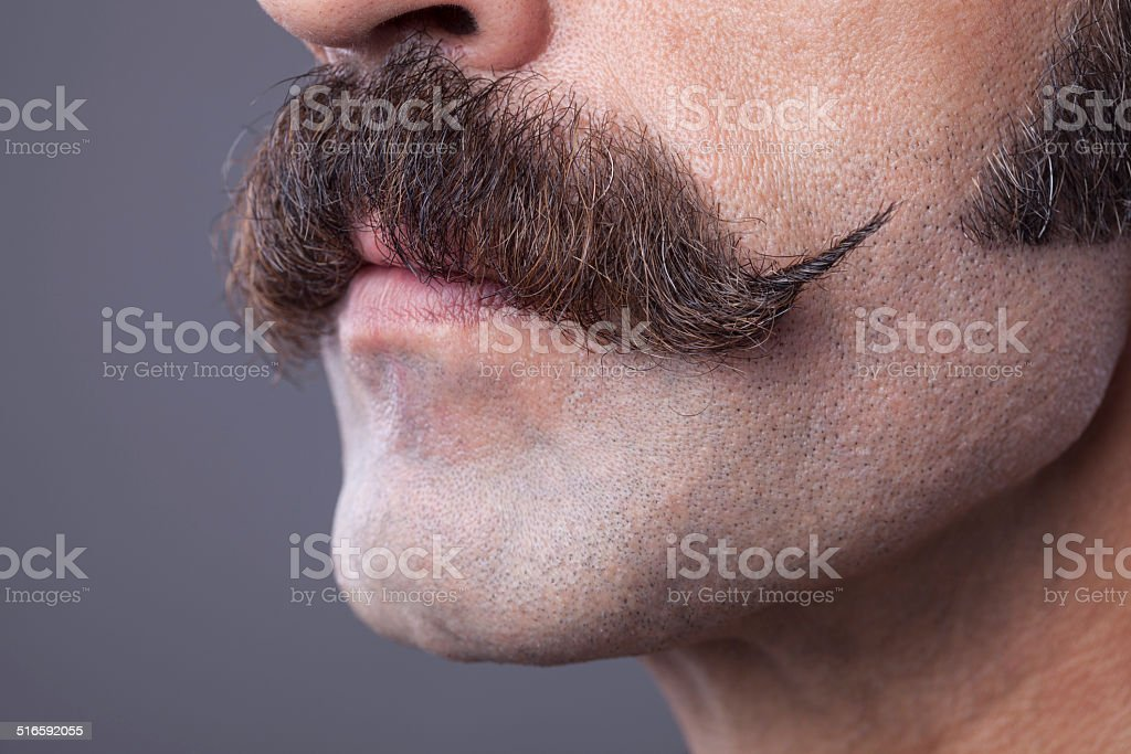 Close up handle bar mustache for movember concept stock photo