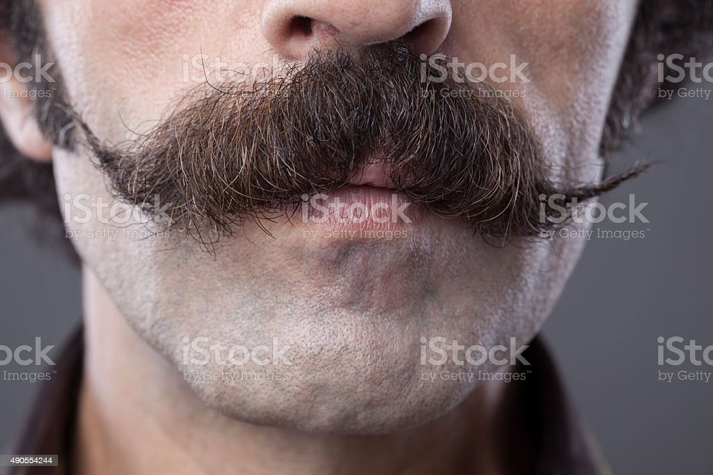 Close up handlebar mustache for movember concept stock photo