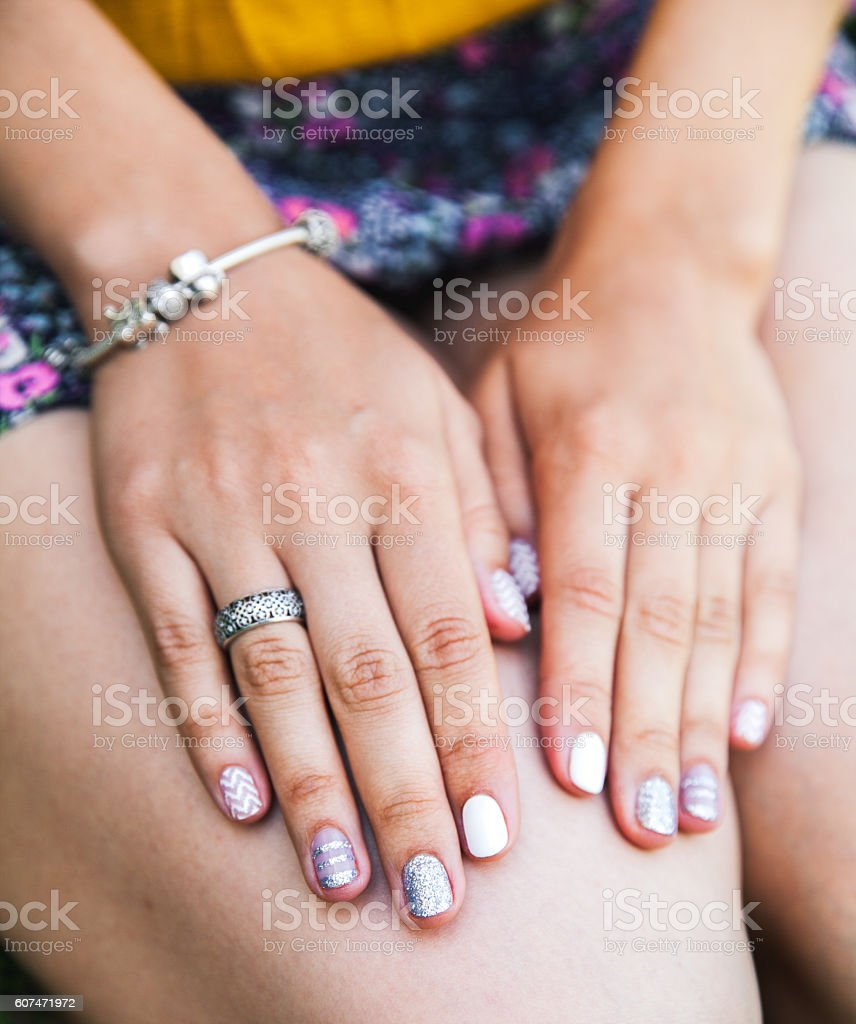 Close up hands of woman stock photo