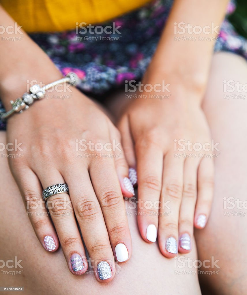 Close up hands of woman showing the ring stock photo
