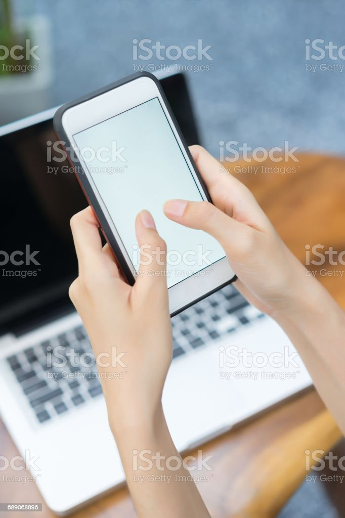 Close up, Hands woman use mobile phone. stock photo