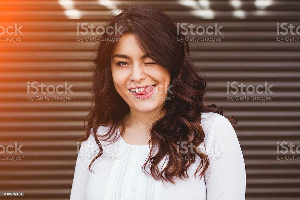 Close up happy girl enjoying the day stock photo