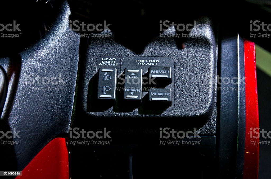 Close up Head light button in Motorbike. stock photo