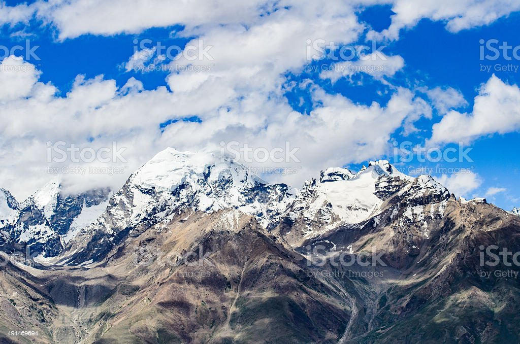 Close up Himalaya Mountain from Kasha monastery, Padum, India. stock photo