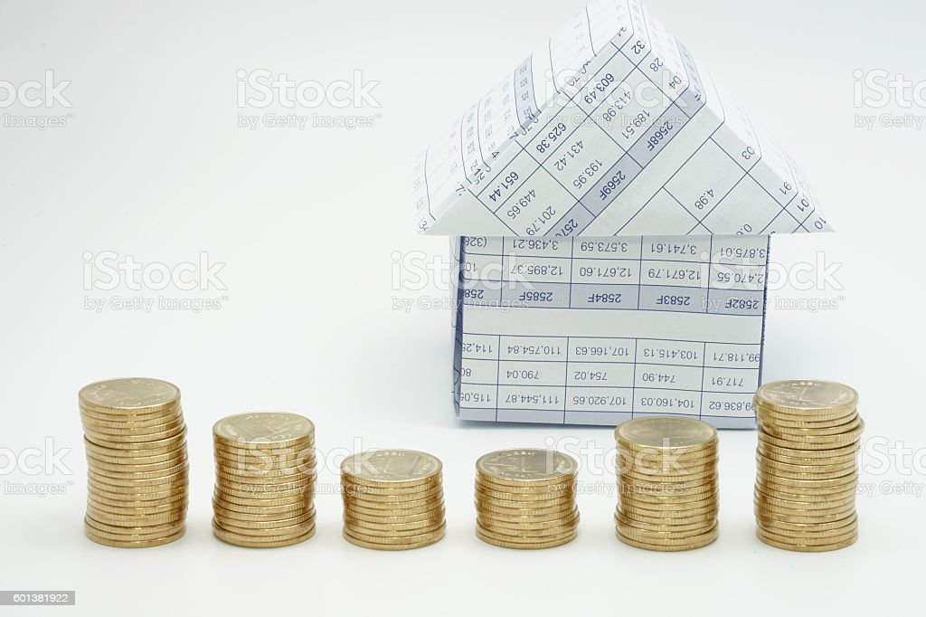 Close up house and step of gold coins royalty-free stock photo