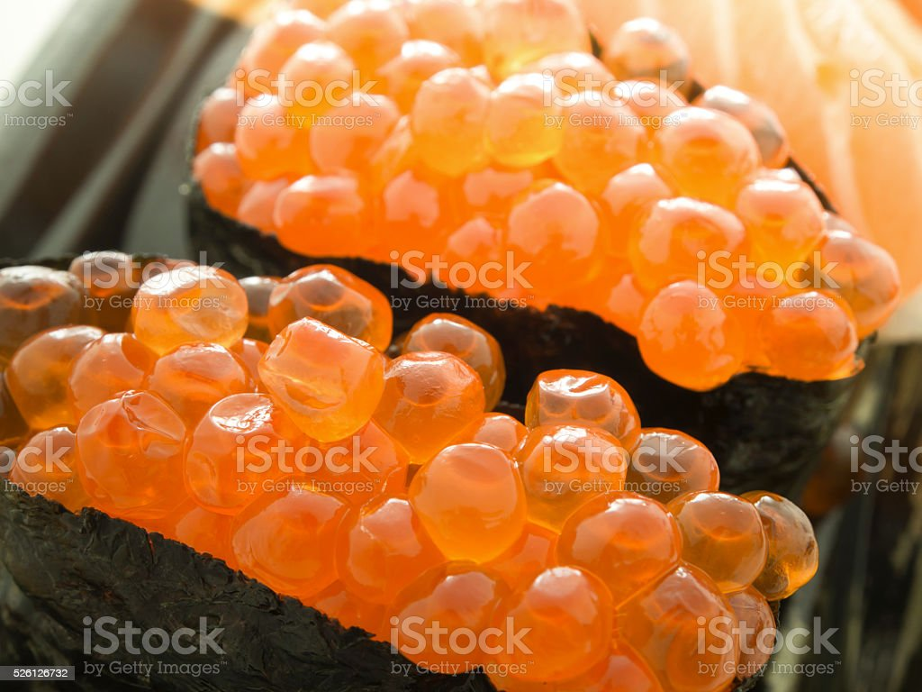 Close up Ikura sushi stock photo