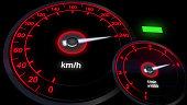close up illuminated Revving Speedometer and Tachometer