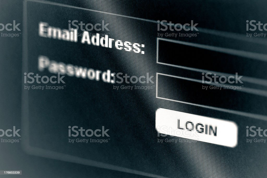 Close up image of a screen with the login button highlighted royalty-free stock photo