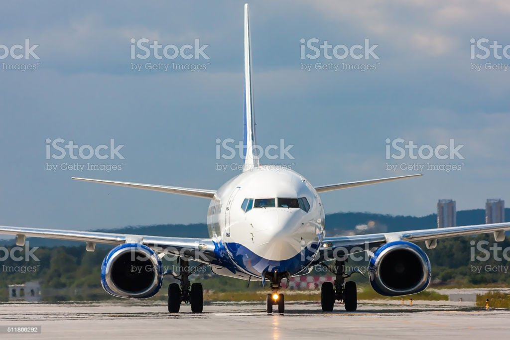Close up image of passenger airplane on the runway royalty-free stock photo