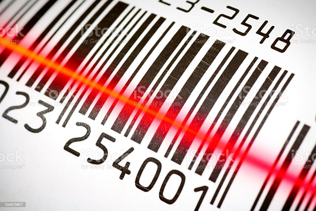 Close up image of scanning a barcode stock photo